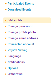プロフィールメニューから「言語設定(Language)」をクリックします